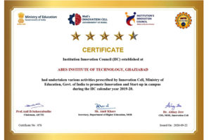 Achieved Four star by MHRD's Innovation Cell