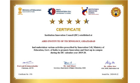 ABESIT Achieved Four point Five Star Rating By MHRD's Innovation Cell